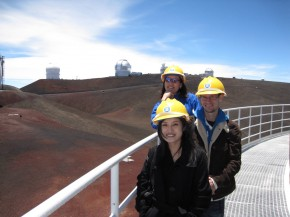 Cooksey with students on the catwalk at the Subaru telescope on Maunakea