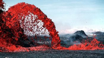 Lava fountain and flow.