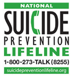 Suicide Prevention Lifeline Logo call 1 (800) 273-8255 (TALK)