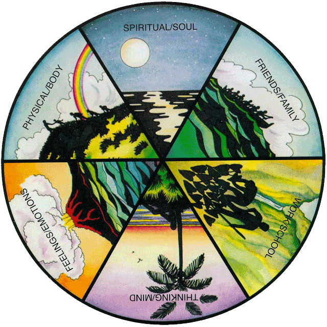 Lokahi Wheel image - six sections, entitled Physical/Body, Spritual/Soul, Friends/Family, Work/School, Thinking/Mind, Feelings/Emotions