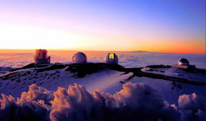 Maunakea observatories at sunset