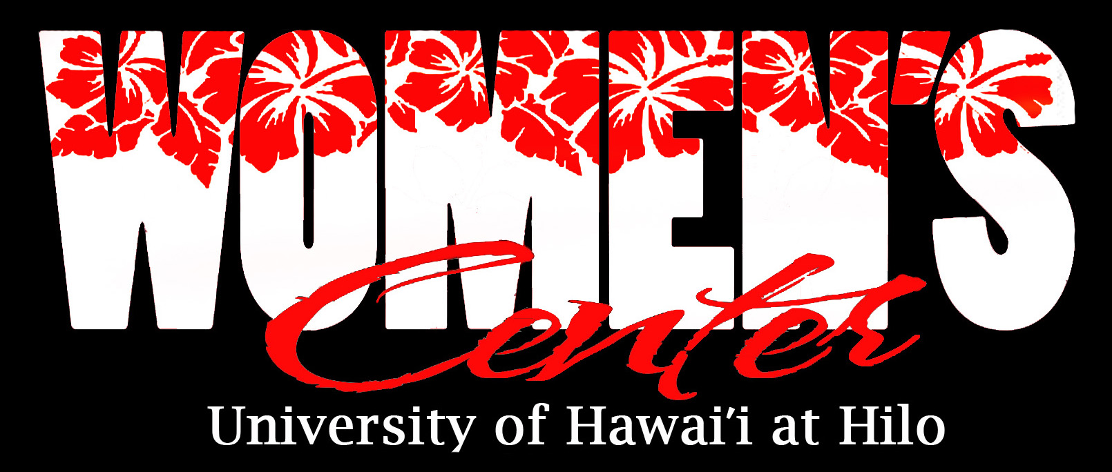 Red Hibiscus background with Womenʻs Center