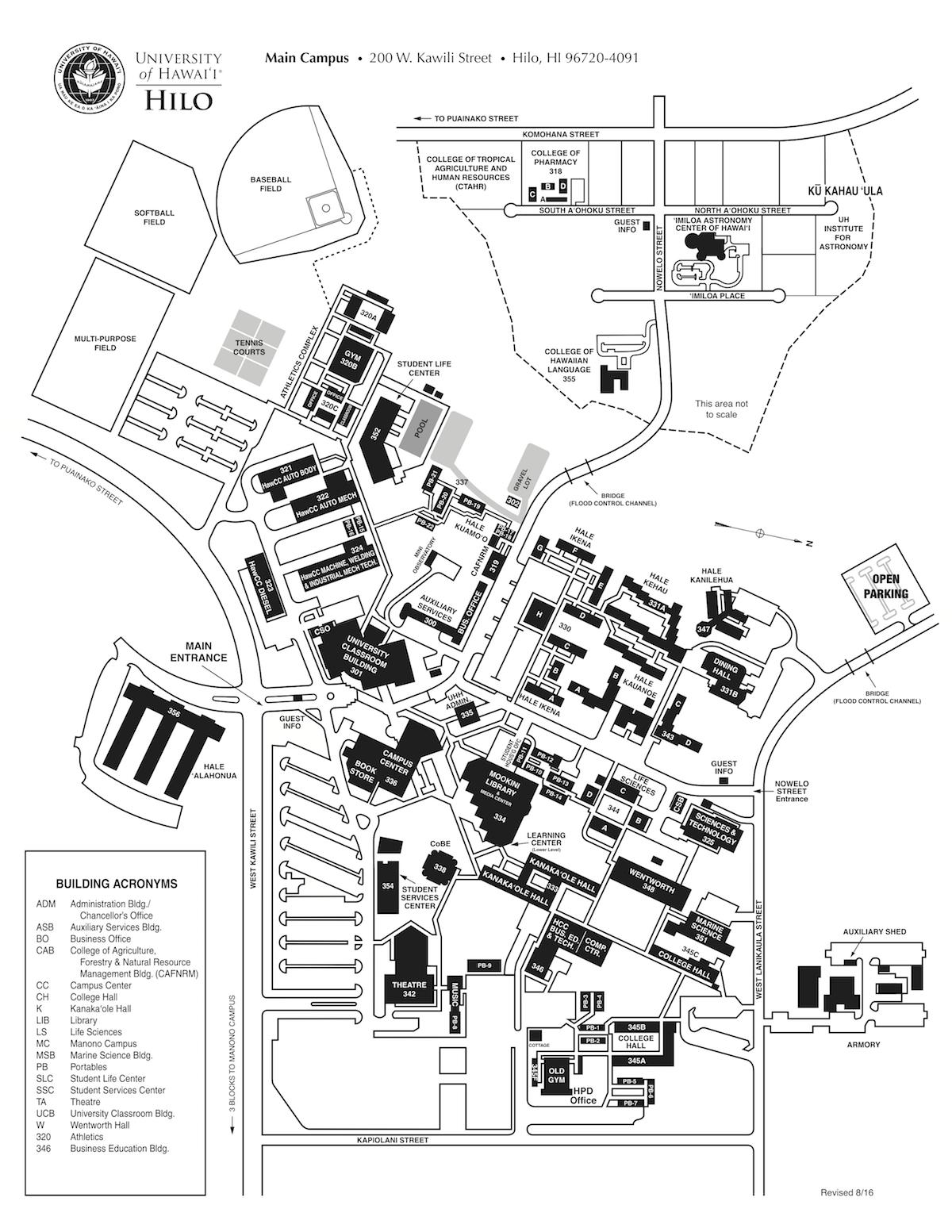 Uh Hilo Map Campus Culture Uh Hilo Map