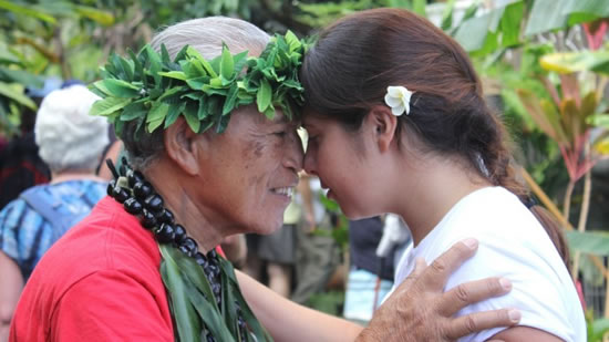 Languages on island a girl and a hawaiian elder kupuna greet by touching their foreheads together traditional hawaiian greeting m4hsunfo