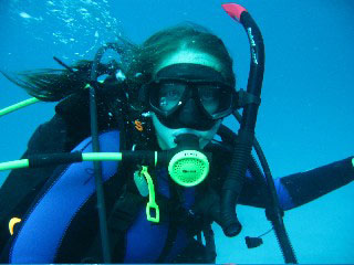 Brittany Dolan scuba diving in the Barrier Reef