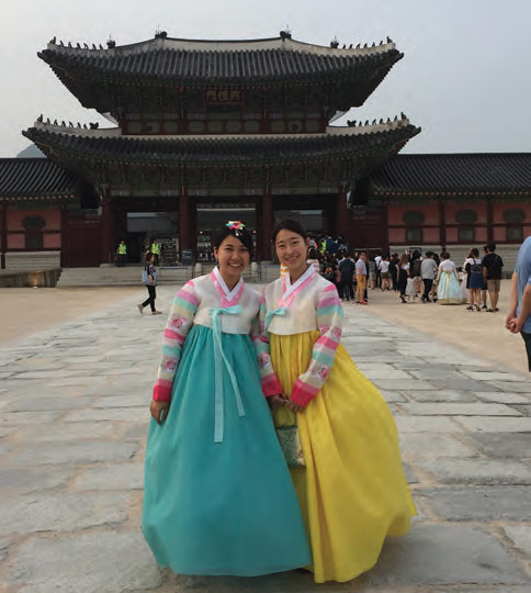 Wearing the Traditional Hanbok in Front of Gyeongbokgung Palace
