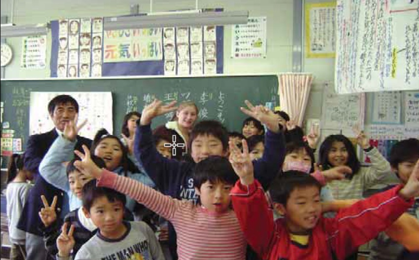 Leah Wnagner with a third grade class in Japan