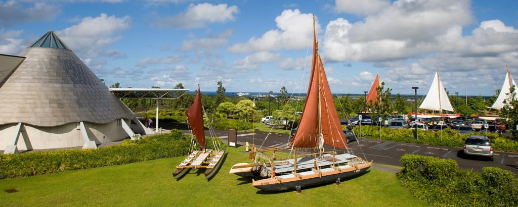 Traditional canoes on display at the Wayfinding Festival at the ʻImiloa Astronomy Center in Hilo.