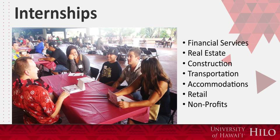 Internships: Financial Services, Real Estate, Construction, Transportation, Accommodation, Retail, and the Non-Profit sector