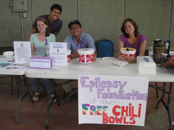 The Epilepsy Foundation offered free chili bowls.