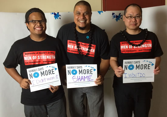 UH Hilo Men of Strength members with their Hawaii Says No More pledge