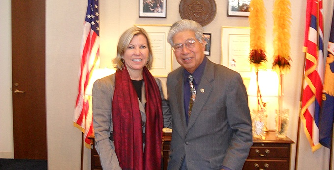 We create strong relationships nationally and locally. (Kay Daub and Senator Akaka pictured)
