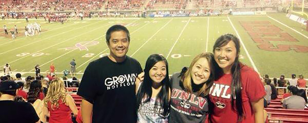 UH Hilo Student Zion enjoying a football game at University of Nevada Las Vegas