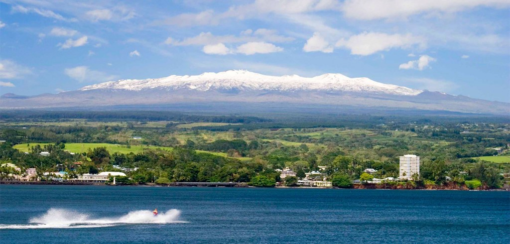 Snow-capped Maunakea as seen from Hilo Bay
